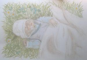 06 Pastellgemälde Baby braun schattiert