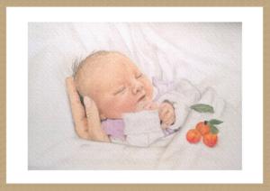 Gemälde im Rahmen, Babygemälde, Portrait, Baby, Pastellportrait, Portrait, Gemälde, Rahmung