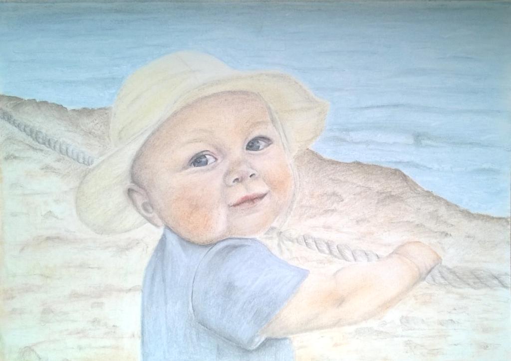 09 Pastellgemälde Kleinkind am Meer bunt schattiert