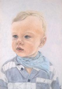 10 Pastellportrait kleiner Junge bunt schattiert