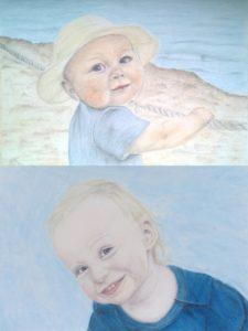 Pastellfarben Gemälde Portrait bunte Schattierung