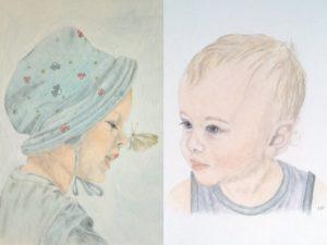 Pastellfarben Portrait Kind Beispiel schwarz schattiert
