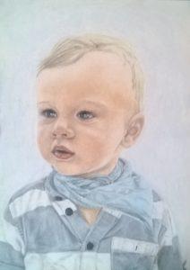 Pastellportrait Junge bunt schattiert