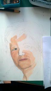 Pastellportrait Frau bunte Schattierungen A4
