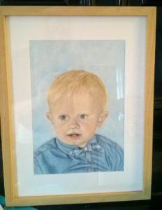 Pastellportrait kleiner Junge bunte Schattierungen Pastellfarben Rahmen Ikea