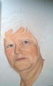 Pastellportrait Frau, A4, bunte Schattierungen, Pastellfarben