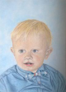 Pastellportrait kleiner Junge bunte Schattierungen