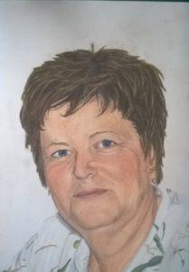 Pastellportrait Frau, A4, bunte Schattierungen, Pastellfarben Haare Strähnchen