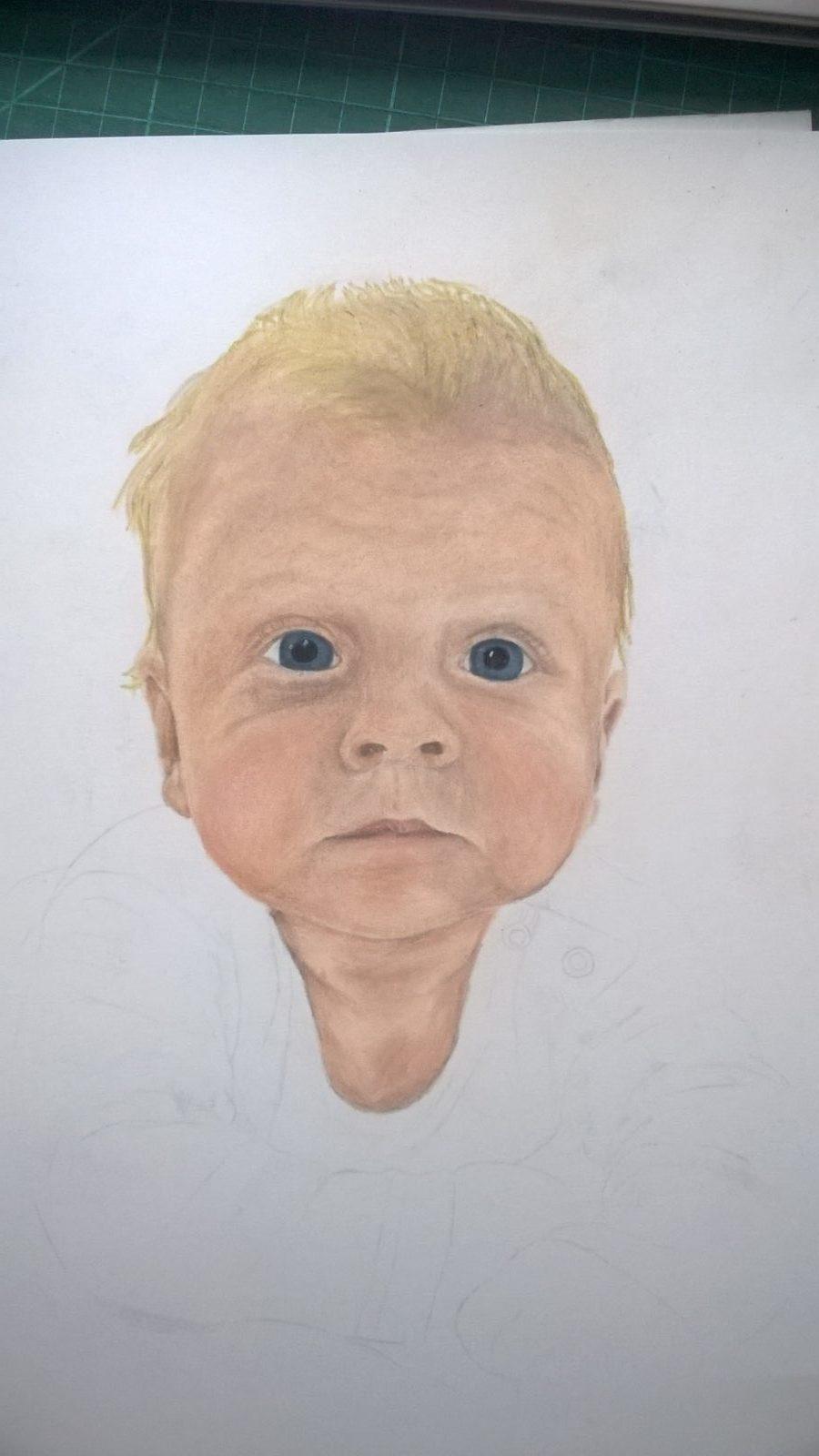 Pastellportrait Baby kleiner Junge Pastellfarben 04