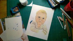 Pastellportrait Baby kleiner Junge Pastellfarben 07