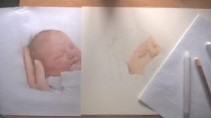 Neugeborenen-Gemälde Pastellfarben Portrait 02