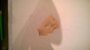 Neugeborenen-Gemälde Pastellfarben Portrait 01