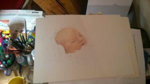 Neugeborenen-Gemälde Pastellfarben Portrait 03