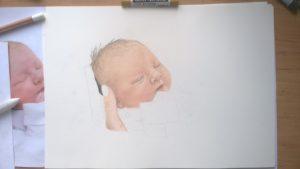 Neugeborenen-Gemälde Pastellfarben Portrait 04