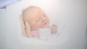 Neugeborenen-Gemälde Pastellfarben Portrait 06