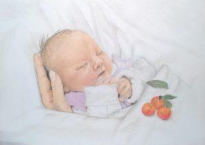 Neugeborenen-Gemälde Pastellfarben Portrait 09
