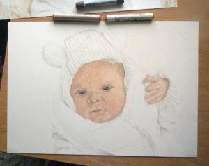 Neugeborenen-Gemälde Pastellfarben 03
