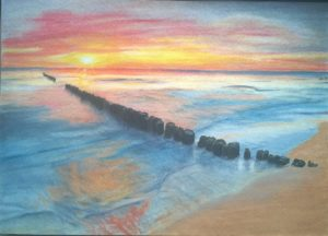 Sonnenaufgang Ostsee Pastellfarben Gemälde 04
