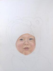 Portrait kleiner Junge, 18x24cm, Pastellkreide, PanPastel, Teddykapuze