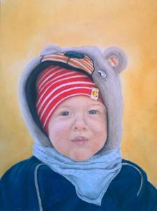 Portrait kleiner Junge, 18x24cm, Pastellkreide, PanPastel, Teddykapuze, Inga Prasse, 4