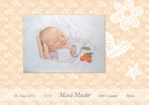 Geburtskarte Design Blumen Rosa