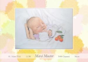 Geburtskarte Design Punkte Mädchen