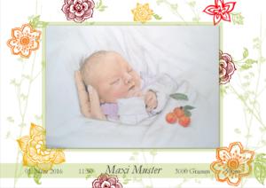 Geburtskarte Design Große Blumen