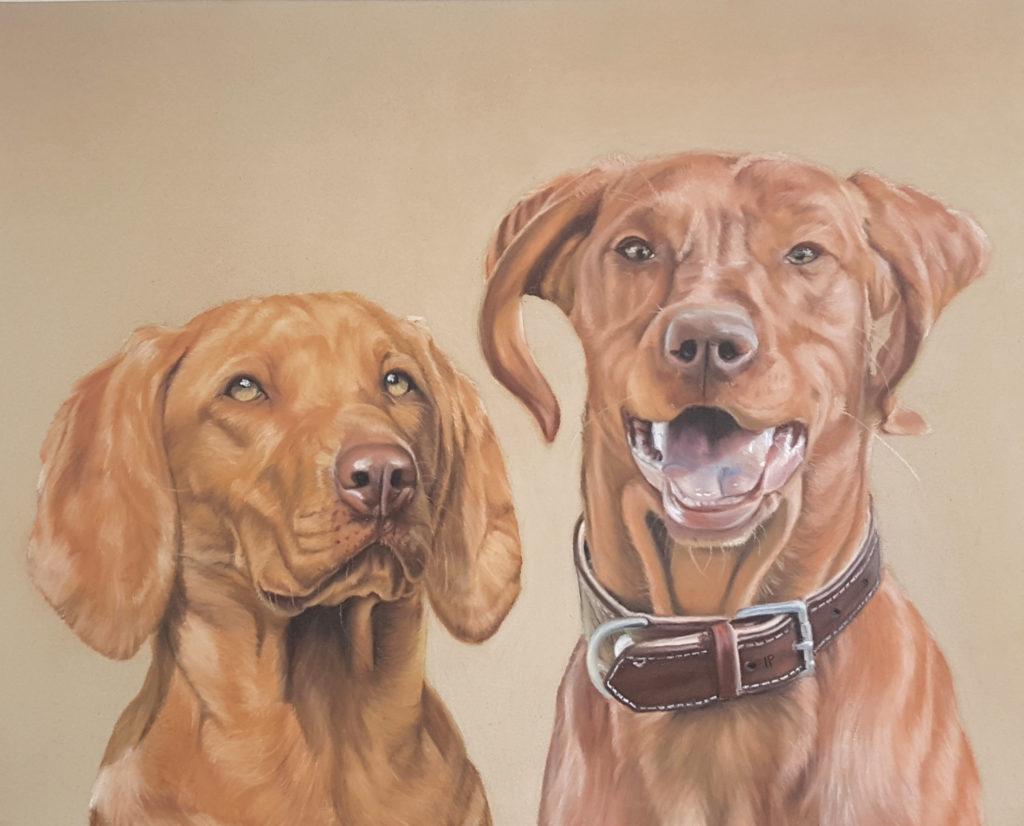 Portrait Hunde, Portrait nach Foto, Pastellfarben, Inga Prasse